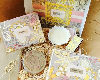 Mini Showered {Bride} Box {candle + thank yous}