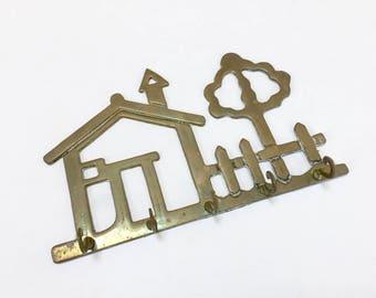 VINTAGE Brass House and Tree Key Holder - Brass Key Hook - House Key Rack - 5 Hooks - Price Products Solid Brass