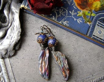 raku shards with lapis lazuli and brass assemblage earrings, unique artisan ceramic jewelry, asymmetrical unique handmade, AnvilArtifacts