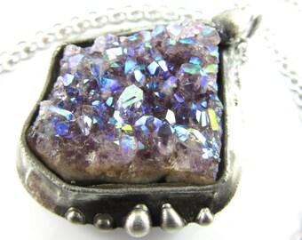 fortuna - angel aura amethyst crystal pendant