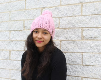 Womens winter hat, Knit slouchy hat, Pink hat - Knit hat with pom pom - The Pryanka