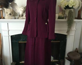 40s Deep Plum Tailored Womens Suit
