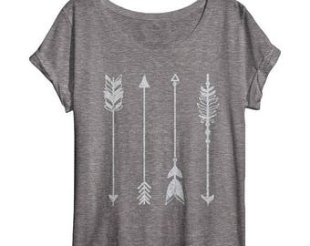 SUMMER SALE Womens Arrow Shirt - Oversized - Off Shoulder - Dolman - Vintage Clothing - Art - Ladies - Tops and Tees