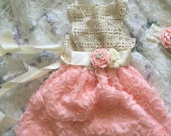 Light Pink Crochet-Bodice Rosette Dress - Toddler & Girls by MODARAGE