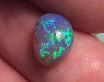 CLEARANCE SALE 2.1 Carat Lightning Ridge Black Crystal Opal Cabochon With Bright Green Pinfire