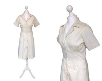 Vintage   | Spader Dam | Ivory Cream Dress | Vintage Shirt Dress | Belt Included