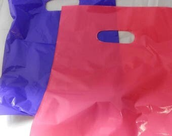 On Sale 100 pack 9 x 12 Hot Pink and Purple Glossy Retail Merchandise bags  Low Density Plastic Merchandise Gift Bags