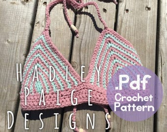 Mint Blush Crochet Bikini Top Pattern - 3 sizes (infant, toddler & child) Hadley Paige Designs Bikini Top Pattern.  Boho kids.  Summerwear.
