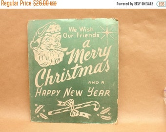 ON SALE vintage shiny green cardboard & reflective glitter merry christmas sign from department store