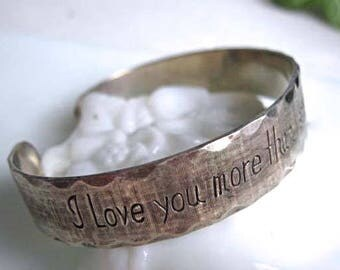 I Love You Sterling Bracelet, Engraved Cuff, Romance Engagement Promise Bracelet, signed M B C Sterling 25 Grams, Yesterday Tomorrow Quote
