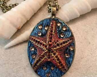 Polymer Clay Jewelry, Searovski Crystal,, Ocean Necklace, Starfish, Starfish Necklace,Animal Necklace, Fantasy Jewelry, Ocean Art, Necklace,