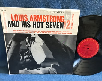 "Vintage, Louis Armstrong And His Hot Seven - ""Volume 2 The Golden Era Series"" Vinyl LP Record Album, Melancholy Blues, Jazz, Big Band"