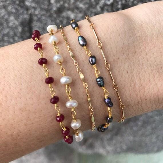 Layering Bracelets, ruby bracelet, pearl bracelet, gold bracelets, gem bracelets, rosary bracelets, bridesmaids gifts