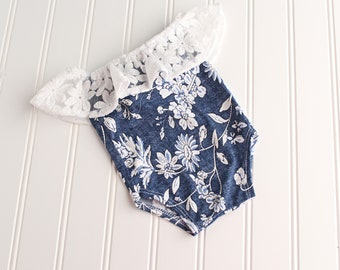 Denim and Lace - newborn off shoulder knit romper in romper in a faux denim knit with slate blue and white flowers with lace ruffle (RTS)