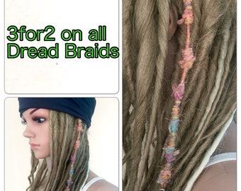 3for2 dread braids accessories Designer unique womens teens handmade dread tube hippy hippy boho festival dreadlocks hair jewellery flower