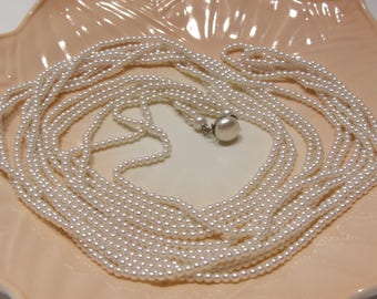 Long Three Strand Vintage Roaring 20's Style Seed Faux Pearl Necklace Great for a Bride