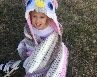 SALE Hooded Owl Blanket