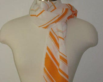 Vintage Orange and White Scarf - Long Scarves - Womens Accessories 1970s