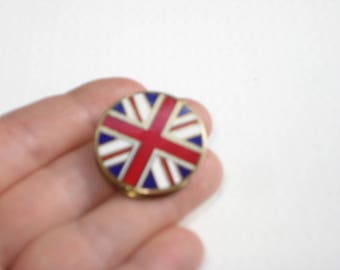 Vintage Clip On Circle Scarf Brooch -Pinless Union Jack Pin -British Flag Brooch