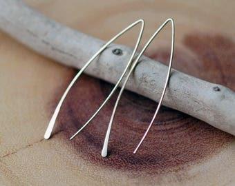 Arc Threader Earrings, Dainty Minimal Earrings, Simple Everyday Earrings, 14k Gold Fill, Sterling Silver or Rose Gold
