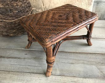 1930s French Wicker Foot Stool, Bench, Bamboo, Small Seat, Rustic Country Cottage Farmhouse