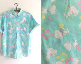 Snoopy Novelty Print Button Down Shirt Music Notes Peanuts Cartoons Short Sleeve Oxford Mens Medium