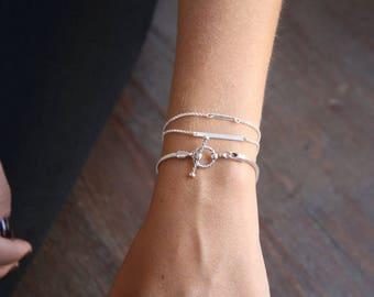 Silver Jewelry, Her Gift, Silver Bracelet, Jewelry Set, Bracelet Gift, Anniversary Gift, Dainty Jewelry, Chain Bracelet, Girlfriend Gift
