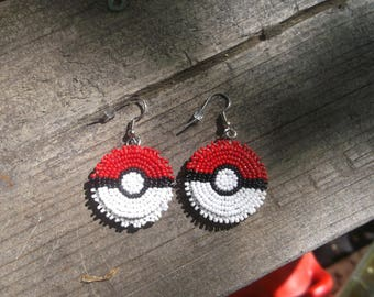 pokemon earrings, beaded earrings