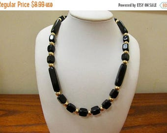ON SALE TRIFARI Retro Long Black and Gold Tone Beaded Necklace Item K # 584