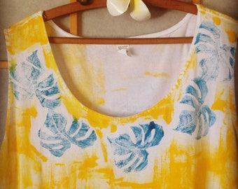 Hawaiian Dress - Plus Size Dress - Plus Size Hawaiian - Beach Dress Plus - Cover Up Plus Size - Yellow Dress