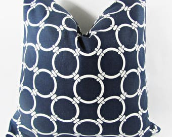 """Navy Blue Chainlink Pillow Cover.10"""",14"""" 16"""",17"""",18"""",20"""",22"""",24"""",26"""",Square,Lumbar Euro Sham Pillow Cover or Table Runner"""
