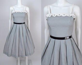 Vintage 1950s Dress 50s Gingham Bobbie Brooks Fit and Flare Full Skirt Summer Dress