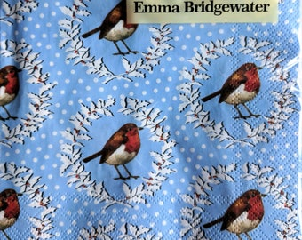 Emma Bridgewater Christmas Robin Wreath Lunch Napkins Pack of 20