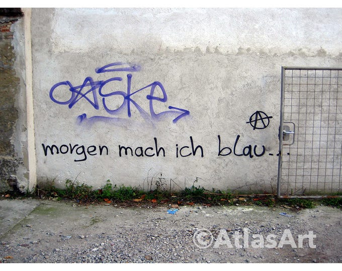 5 Postcards 'Morgen mach ich blau...', Set of 5,  home decor, streetart, art, photography, graffiti