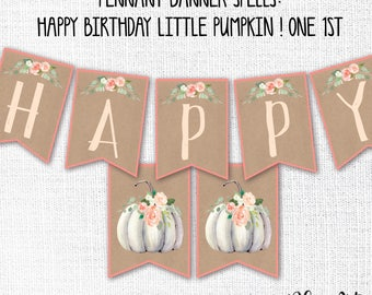Pumpkin 1st Birthday Pennant Banner, Printable, White Little Pumpkin, One Sign, Girl, Fall, Instant Download, Party Decoration, Boho, Rustic