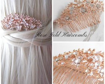 Rose Gold and Crystal Floral Hair Comb. Bridal, Special Occasion, Crystal Hair Combs.