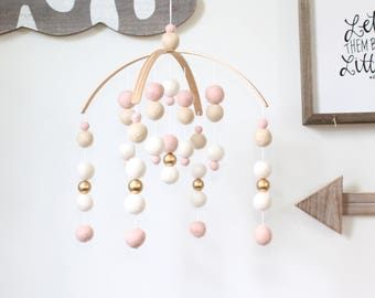 BLUSH / WHITE / GOLD Felt Ball Mobile, Baby Mobile, Crib Mobile, Nursery Cot Mobile, Pom Pom Mobile, Nursery Mobile, Gender Neutral