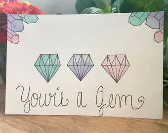 "Original Watercolor Painting, ""You're A Gem"", Crystal Watercolor, Intrinsic Journeys"