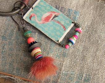 Exo-vintage earrings-flamingo earrings-bohemian style-rustic-asymmetric buckles-stacking and pink flamingo pendant-turquoise-salmon-pink