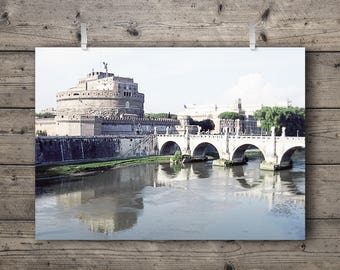 Mausoleum of Hadrian / Castel Sant'Angelo, Tiber River, Rome, Italy / Italian Travel Photography Print / Ancient Roman Architecture Wall Art
