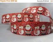 "Santa Ho Ho Ho Merry Christmas with snowmen ribbon, Christmas 1"" Ribbon by the yard, RN16096"