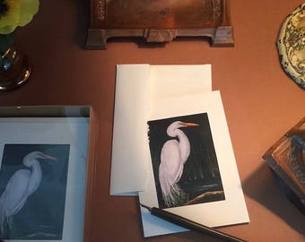 Notecards ACEO Egret Print Six Photo Pocket Blank Note Cards