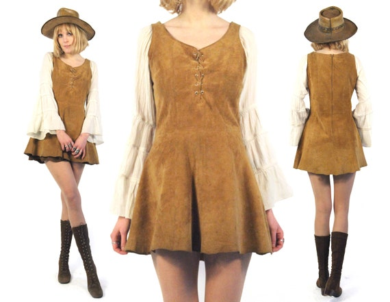Vtg 70s Suede Lace Up Mini Dress M