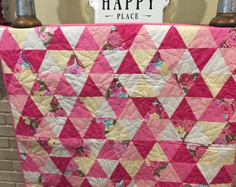 Baby girl pink geometric quilt
