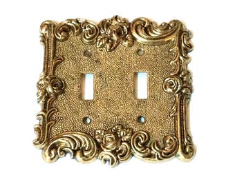 Antique Brass Double Switch Plate American Tack Double Switch, 1960s American Tack and Hardware #60TT