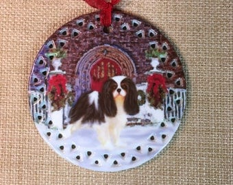 Tricolor Cavalier King Charles Spaniel Seasons Greetings Ornament