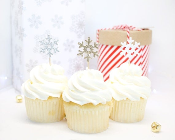 Snowflake Cupcake Toppers - Glitter - Christmas Baking Decor. Christmas Decorations. Appetizer Picks. Snowflake Decor. Birthday Party Decor.