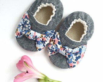 Knot Bow Blue Floral Soft Sole Vegan Baby Shoes