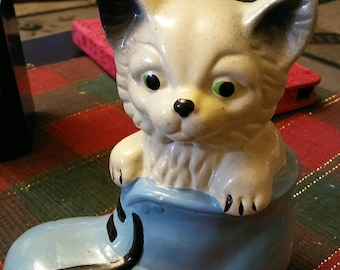 Adorable Kitten In A Boot Ceramic Bank Figurine