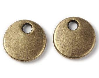 50pc 8mm antique bronze finish Flat Round Tag Pendants-5621D